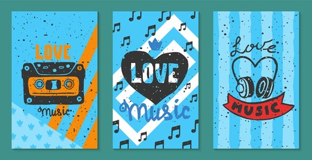 Love music festival cards vector illustration. Let your heart sing. Music make everything better. Electric guitars with hearts. Listening to songs. DJ performance. Instrument playing. Musical event.