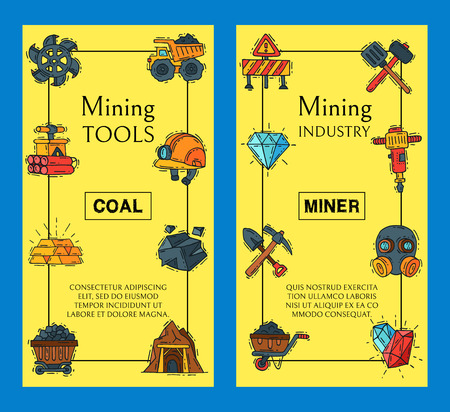 Mining industry set of banners vector illustration. Profession and occupation. Coal mining equipment, miner tools. Special machinery. Equipment for mining underground operations.