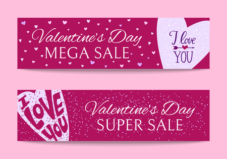 Happy Valentines day banners vector illustration. I love you. Romantic holiday for couple of lovers. Super sales and discounts for holiday. Special offer. Hearts and arrow. Ilustração