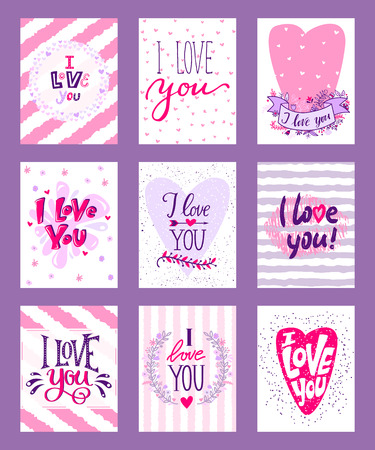 Happy Valentines day vector illustration. Set of Valentines romantic greeting card, invitation, poster design templates. I love you. Wedding, marriage, save the date, bridal. Ilustração
