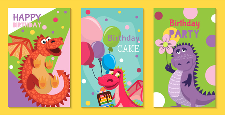 Baby dragons set of birthday or invitation cards or posters vector illustration. Cartoon funny little dragons with wings. Fairy dinosaurs with cake, baloons, flower. Party. Birthday celebration. Illustration