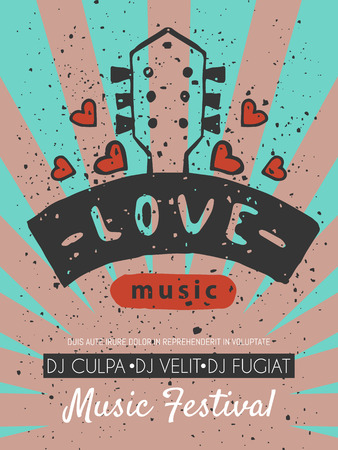 Love music festival poster vector illustration. Let your heart sing. Music make everything better. Electric guitars with hearts. Listening to songs. DJ performance. Instrument playing. Musical event.