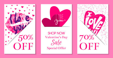 Happy Valentines day banners vector illustration. I love you. Wedding, marriage, save the date, bridal. Sales and discounts for holiday. Special offer. Pink lip print and hearts.
