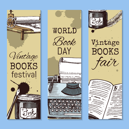 Old books with ink quill feather pen and inkwell set of banners vector illustration. Vintage or antique writing stationery and open book manuscript with rough paper sheets. World book day. Festival.