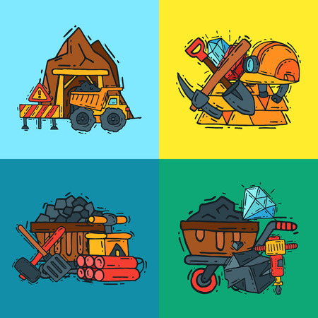 Mining industry pattern vector illustration. Profession and occupation of miner. Coal mining equipment, miner tools. Special machinery. Equipment for mining underground operations.