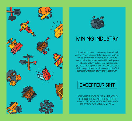 Mining industry banners vector illustration. Profession and occupation of miner. Coal mining equipment, miner tools. Special machinery. Equipment for mining underground operations. Illustration