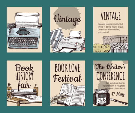 Old books with ink quill feather pen and inkwell set of cards or banners vector illustration. Vintage or antique writing stationery and open book manuscript. Writer s conference. Illustration