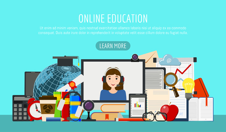 Distance education banner. Online courses, e-learning, tutorials. testing vector illustration. Desktop computer, headphones, keyboard, calculator. Video call with web cam. 일러스트