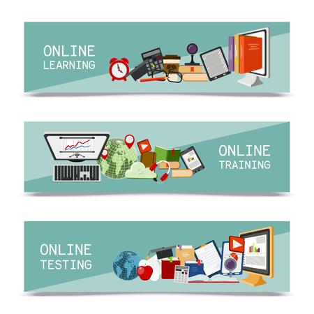 Distance education set of banners. Online courses, webinar, quizzing, e-learning, tutorials vector illustration. Desktop computer, headphones, keyboard, calculator Reading e-books doing test
