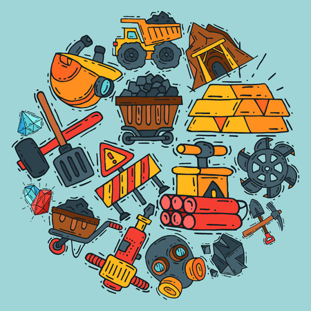 Mining industry round pattern vector illustration. Profession and occupation. Coal mining equipment, miner tools. Special machinery. Equipment for mining underground operations. Ilustração