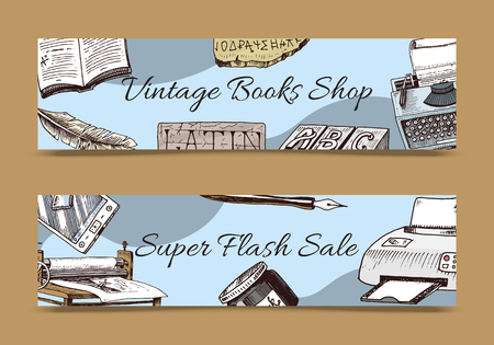 Vintage book shop set of banners vector illustration.Old books with ink quill feather pen and inkwell. Antique writing stationery and open book manuscript. Super flash sale. Printer with paper. Illustration