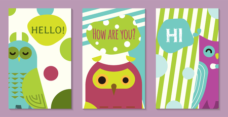 Owl set of banners vector illustration. Hello, hi, how are you. Cute cartoon wise birds with wings of different color for greeting cards and celebration party. Owls with closed eyes. Meeting new. Ilustração