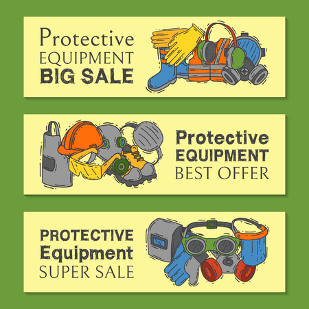 Personal protective equipment for safe work vector illustration. Big sale on health and safety supplies set of banners. Best offer of gloves, helmet, glasses, headphones, protection mask.