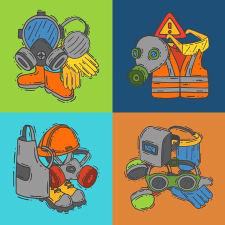 Equipo de protección personal para la ilustración de vector de trabajo seguro. Gran venta en banner de suministros de salud y seguridad. Mejor oferta de guantes, casco, gafas, auriculares, máscara antigás de protección.
