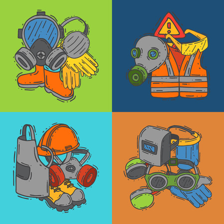 Personal protective equipment for safe work vector illustration. Big sale on health and safety supplies banner. Best offer of gloves, helmet, glasses, headphones, protection gas mask.