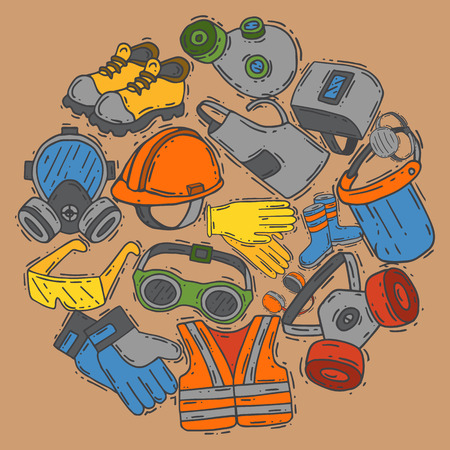 Personal protective equipment for safe work vector illustration. Big sale on health and safety supplies round pattern. Best offer of gloves, helmet, glasses, headphones, protection gas mask, vest. Vetores