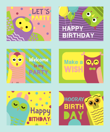 Owl birthday cards vector illustration. Welcome to my birthday. Make a wish. Cute cartoon wise birds with wings of different color for invitations and celebration party. Baloons and confetti.