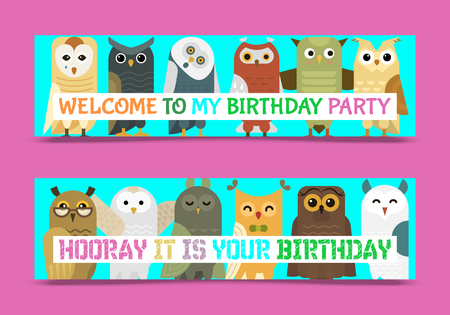 Owl banner and pattern vector illustration. Welcome to my birthday. Cute cartoon wise birds with wings of different color for invitation, greeting cards and celebration party. Funny animals. Çizim