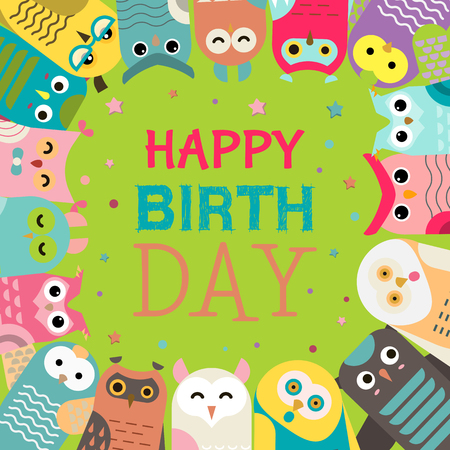 Owl pattern vector illustration. Welcome to my birthday. Make a wish. Cute cartoon wise birds with wings of different colors for invitations and celebration party. Happy birthday. Stars and confetti.