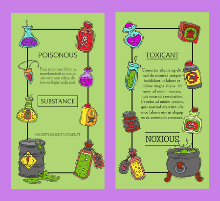 Toxic industry concept banners vector illustration. Different barrel for liquids oil, biofuel, explosive, chemical, radioactive,flammable and poisonous substances and liquids.