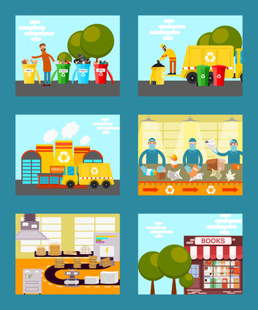 Recycle garbage, save ecology concept cards vector illustration. People throwing trash into recycle bins. Waste paper recycling. Sorting things in factory. Reusing paper for new books. Illustration