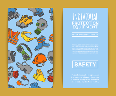 Personal protective equipment for safe work vector illustration. Big sale on health and safety supplies pattern. Best offer of gloves, helmet, glasses, headphones, protection gas mask.