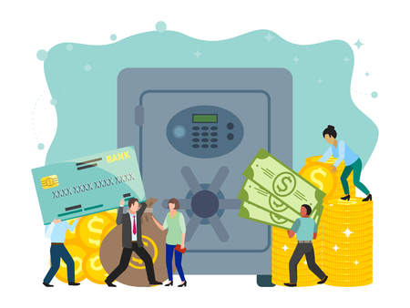 Bank safe and vault banner vector illustration, metallic iron safe door. Gold, cash, currency, financial concept, business template. Small people carrying cash, coins, credit card. Sack of money.