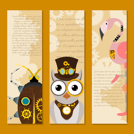 Steampunk animal set of banners vector illustrations for party or festival. Fantastic metal scarab, owl flamingo in style of engraving with decorative frame of gears and pistols. Golden elements.