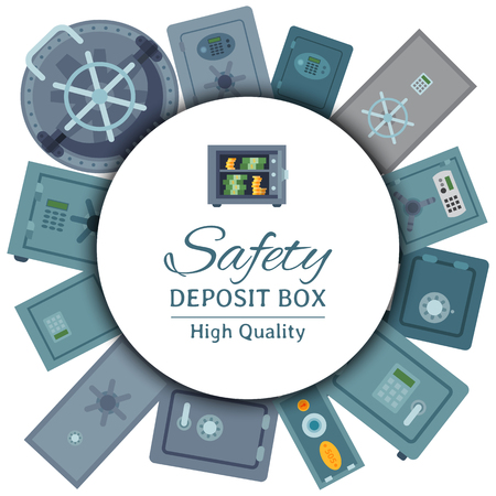 Money safe steel vault door round pattern. Safety business box for cash secure protection vector illustration. Finance business concept. Safety deposite box. Storage gate with electronical lock.