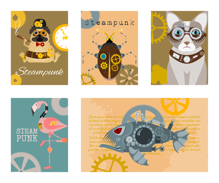 Steampunk animal set of cards vector illustrations. Fantastic cartoon dog, cat, metal fish, flamingo pink in style of engraving with decorative frame of gears and pistols.
