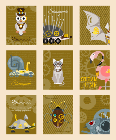 Steampunk animal set of cards vector illustrations for party or festival. Fantastic metal scarab, hedgehog, flamingo in style of engraving with decorative frame of gears and pistols. Illusztráció