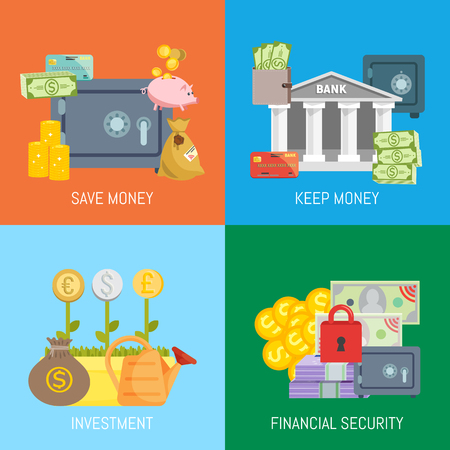 Safe efinance concept banner vector illustration. Save and keep money, investment and financial security. Vault with metallic iron locked door. Purse with cash, piles of coins.