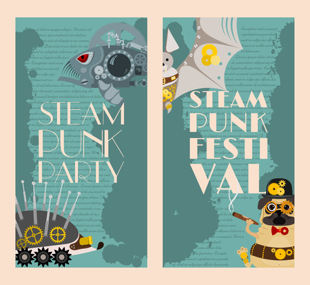 Steampunk animal set of banners vector illustrations for party or festival. Fantastic metal fish and hedgehog, bat in style of engraving with decorative frame of gears and pistols and golden wheels. Stock fotó - 123997949