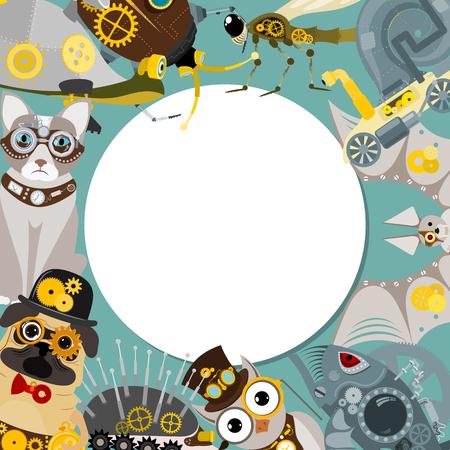 Illustrations vectorielles à motif rond animal steampunk pour fête ou festival. Fantastique poisson et hérisson en métal, chauve-souris de style gravure avec cadre décoratif d'engrenages et de pistolets. Vecteurs