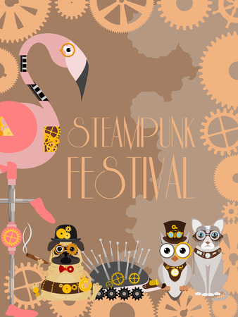 Steampunk animal poster vector illustrations for party or festival. Fantastic metal owl, hedgehog, flamingo, dog in style of engraving with decorative frame of gears and pistols and golden wheels.