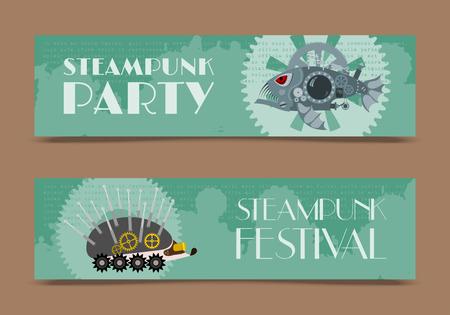 Steampunk-Tiersatz von Banner-Vektor-Illustrationen für Party oder Festival. Fantastischer Fisch und Igel aus Metall im Gravurstil mit dekorativem Rahmen aus Zahnrädern und Pistolen und goldenen Rädern. Vektorgrafik