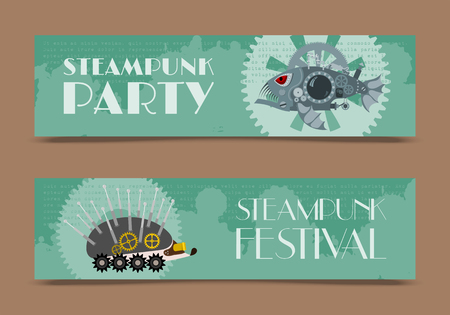 Steampunk animal set of banners vector illustrations for party or festival. Fantastic metal fish and hedgehog in style of engraving with decorative frame of gears and pistols and golden wheels.