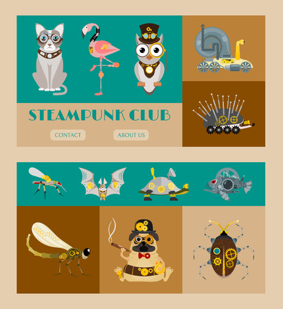 Steampunk animal set of banners vector illustrations for party or festival. Fantastic metal scarab, hedgehog, flamingo, cat, bat in style of engraving with decorative frame of gears and pistols. Illustration