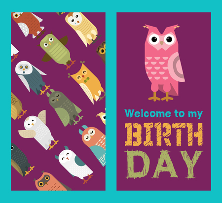 Owl banner and pattern vector illustration. Welcome to my birthday. Cute cartoon wise birds with wings of different color for invitation cards and celebration party. Funny animals.