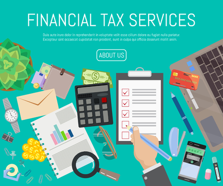 Financial tax services banner vector illustration. Auditor at table during examination of financial report. Tax process. Research, project management, planning, accounting, analysis data. Calculating.