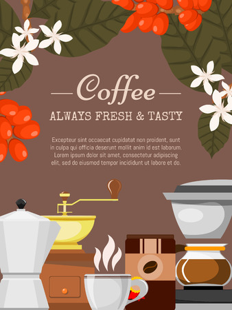 Coffee shop poster vector illustration. Morning coffee. Organic coffee. Always fresh and natural. Barista equipment such as espresso machine, coffee beans, coffee pot. Plants. Ilustração