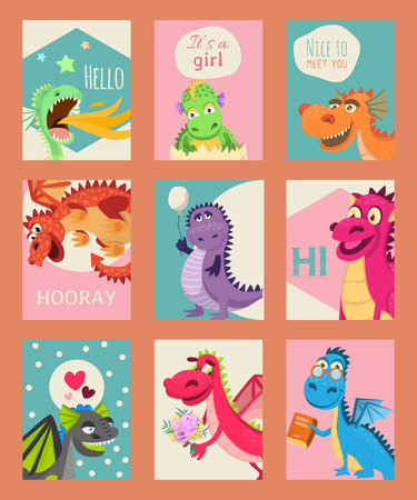 Baby dragons set of birthday or invitation cards or banners vector illustration. Cartoon funny dragons with wings. Fairy dinosaurs with book, baloon, flower. Nice to meet you, hooray. It s a girl.