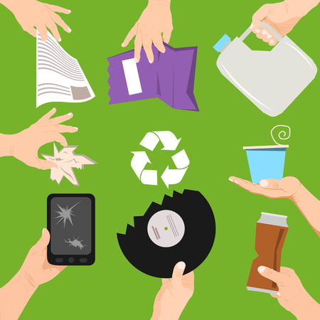 Waste poster concept vector illustration. People holding different types of garbage. Hands with trash such as broken phone, plate, can, bottle and paper bags. Recycling things.  イラスト・ベクター素材