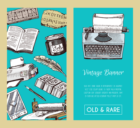 Old books banner, seamless pattern vector illustration. Vintage or antique writing stationery and open book manuscript with rough paper sheets. World book day. Book shop. Printer and e-book. Festival.