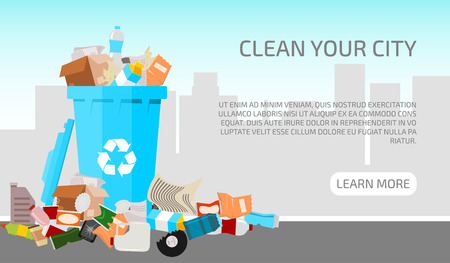 Waste city concept banner vector illustration. Littering waste that have been disposed improperly around the blue plastic dust bin. Garbage can is full. Trash is fallen on the ground.