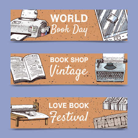 Old books set of banners vector illustration. Vintage or antique writing stationery and open book manuscript with rough paper sheets. World book day. Book shop. Printer and e-book. Festival. Ilustracja