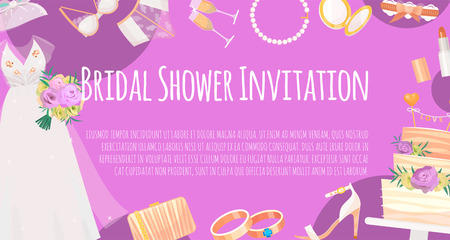 Bridal shower invitation banner vector illustration. Save the date. Wedding accessories such as flower bouquet, dress, glasses with champagne, cake, underwear, shoes, garters, lipstick. Standard-Bild - 120201739