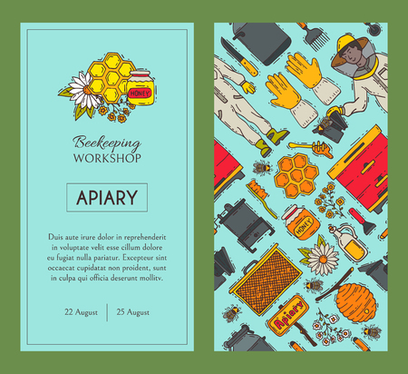 Beekeeping set of banners, apiary vector illustration. Beekeeping tools, man in suit. Honeycomb, honey from beehive, jar with organic honey. Bees swarm flying over flowers.