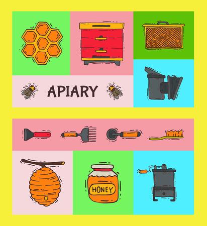 Ensemble de bannières apicoles, illustration vectorielle de rucher. Atelier d'apiculture, outils et équipements apicoles. Nid d'abeille, miel de ruche, pot de miel bio.