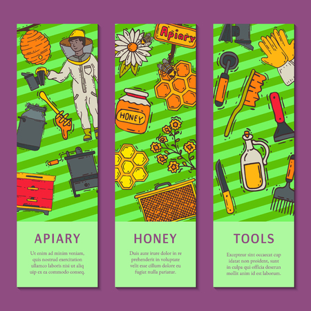 Beekeeping set of banners, apiary and beekeeper in protective suit vector illustration. Man with equipment. Honeycomb, honey from beehive, jar with organic honey. Bees swarm flying over flowers.